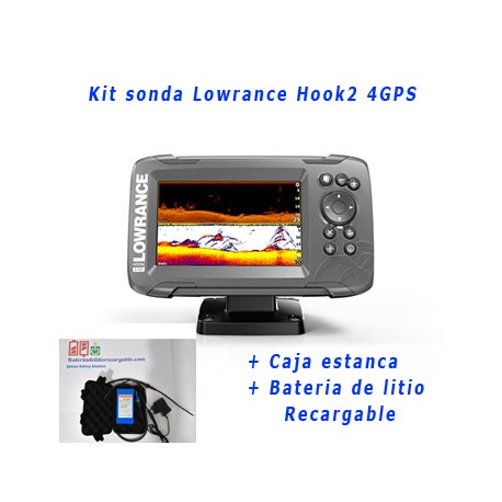 Kit sonda Lowrance Hook2 4 GPS + caja estanca + bateria de litio