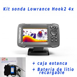 Kit sonda Lowrance Hook2 4x + caja estanca + bateria de litio