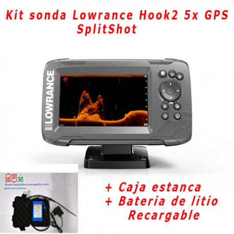 Kit sonda Lowrance Hook2 5 GPS SplitShot + caja estanca + bateria de litio