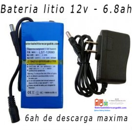Bateria Litio Recargable 12v /6.8ah/ 6ah