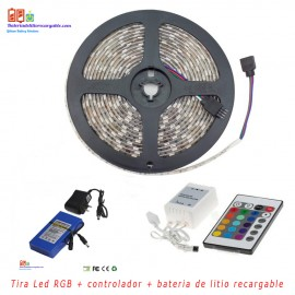 Kit tira led RGB + controlador + bateria de litio