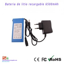 Bateria recargable litio 12V/ 6.5A / 78wh