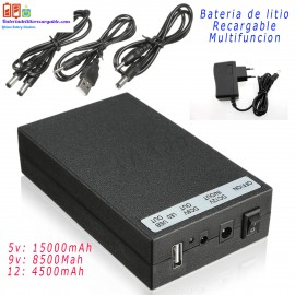 Bateria recargable litio 5v / 9v / 12v