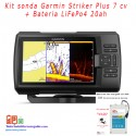 Kit sonda Garmin Striker Plus 7 cv + bateria LiFePO4 20ah