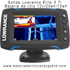 Kit sonda Lowrance Elite 5 Ti + bateria litio 20ah