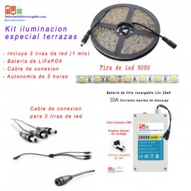 Kit iluminacion Led 1 mts con bateria de LiFePo4 recargable a 12v