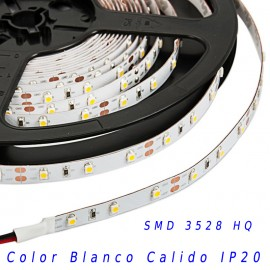 Tira Led HQ SMD 3528 monocolor 12v 60 led/m IP20 Blanco calido