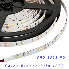 Tira Led HQ SMD 3528 monocolor 12v 60 led/m IP20 Blanco frio