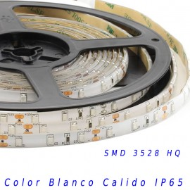 Tira Led HQ SMD 3528 monocolor 12v 60 led/m IP65 Blanco calido