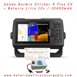 Kit sonda Garmin Striker Plus 5 cv GPS + bateria de litio 10ah