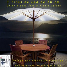 Kit Led estanco con Bateria de Litio para terrazas 3 tiras