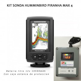 Kit sonda Humminbird Piranha Max 4 + caja estanca + bateria litio