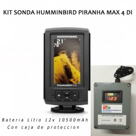 Kit sonda Humminbird Piranha Max 4 DI + caja estanca + bateria litio