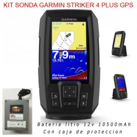 Kit sonda Garmin Striker 4 Plus GPS + caja estanca + bateria litio