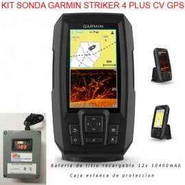 Kit sonda de pesca Garmin Striker Plus 4cv GPS + bateria itio + caja estanca
