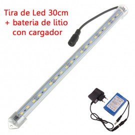 Tira de Led Rigida 5630 30cm + Bateria Litio