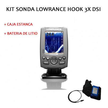 Kit sonda Lowrance Hook 3 DSI + caja estanca + bateria litio