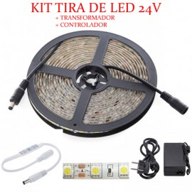 Kit Tira Led 5050 Blanco Frio + transformador + controlador