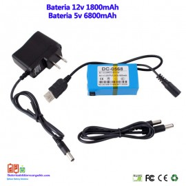 Bateria recargable litio 12v 1.8A/5V 6.8A